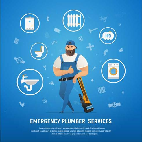 Handsome Company Plumber Service with Wrench vector