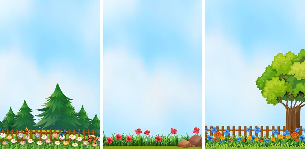 Three garden scenes with colorful flowers vector