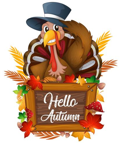 Turkey on autumn sign vector