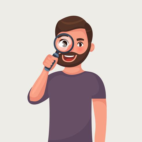 The man in glasses with beard is looking through magnifying glass and search. vector