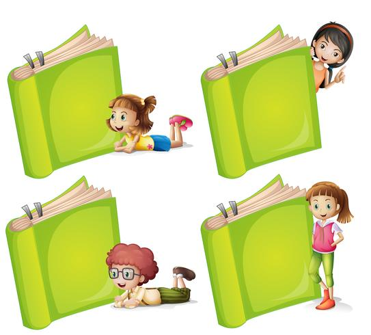 Happy children with big green book vector