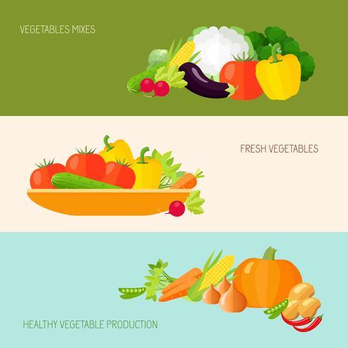 Set de Banners de Verduras vector