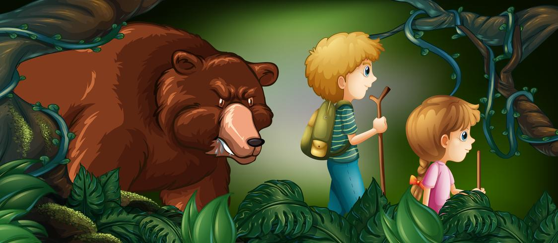 Two kids hiking in deep forest with bear behind