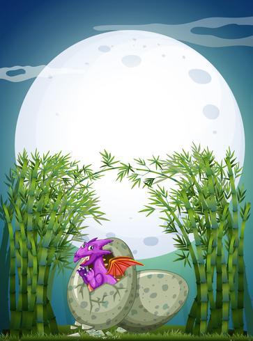 Drago che cova l'uovo nella notte di luna piena