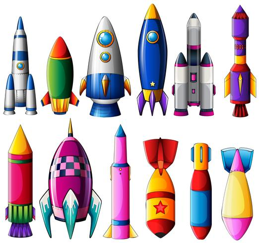 Different designs for rockets vector