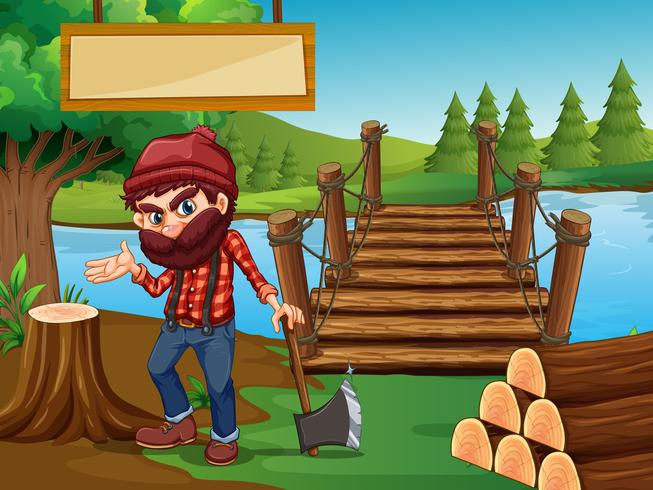 Lumber Jack chopping wood in forest vector