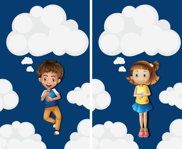 Boy and girl flying in the sky vector