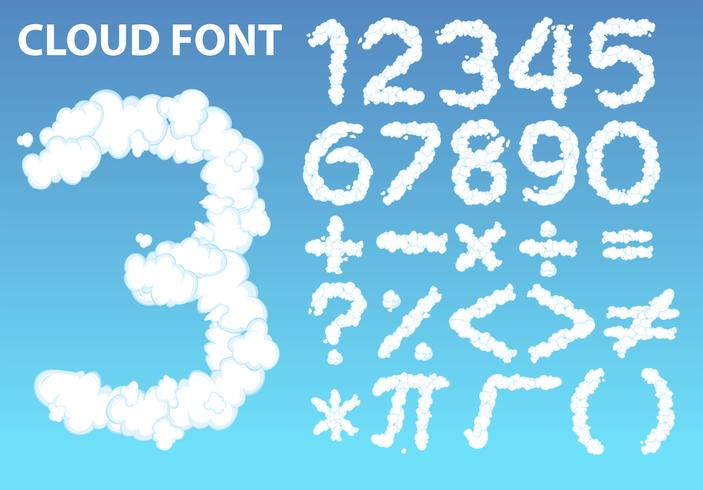 Icono de fuente y matemáticas de número de nube vector