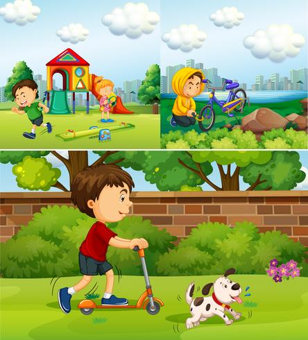 People doing different things in the park vector