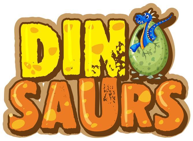 Diseño de fuente para la palabra dinosaurio con dinosaurio en huevo.