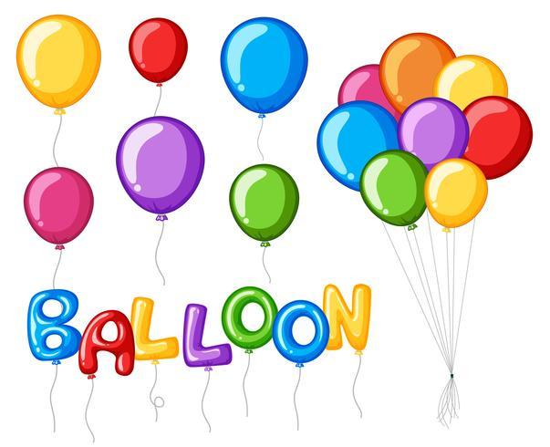 Palloncini colorati con palloncino di parola