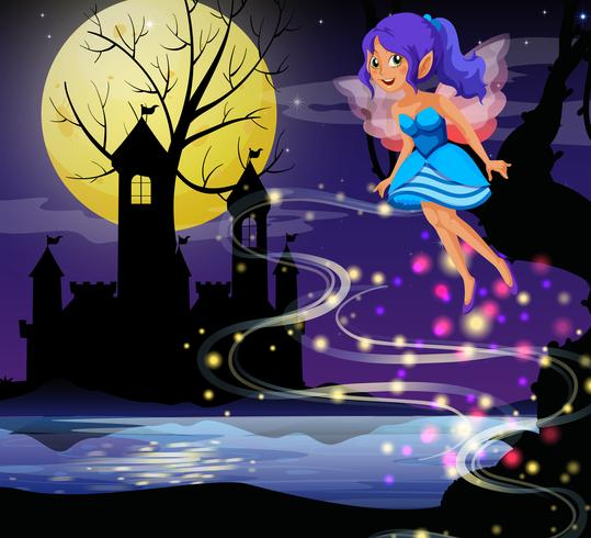 Cute fairy flying around castle towers at night