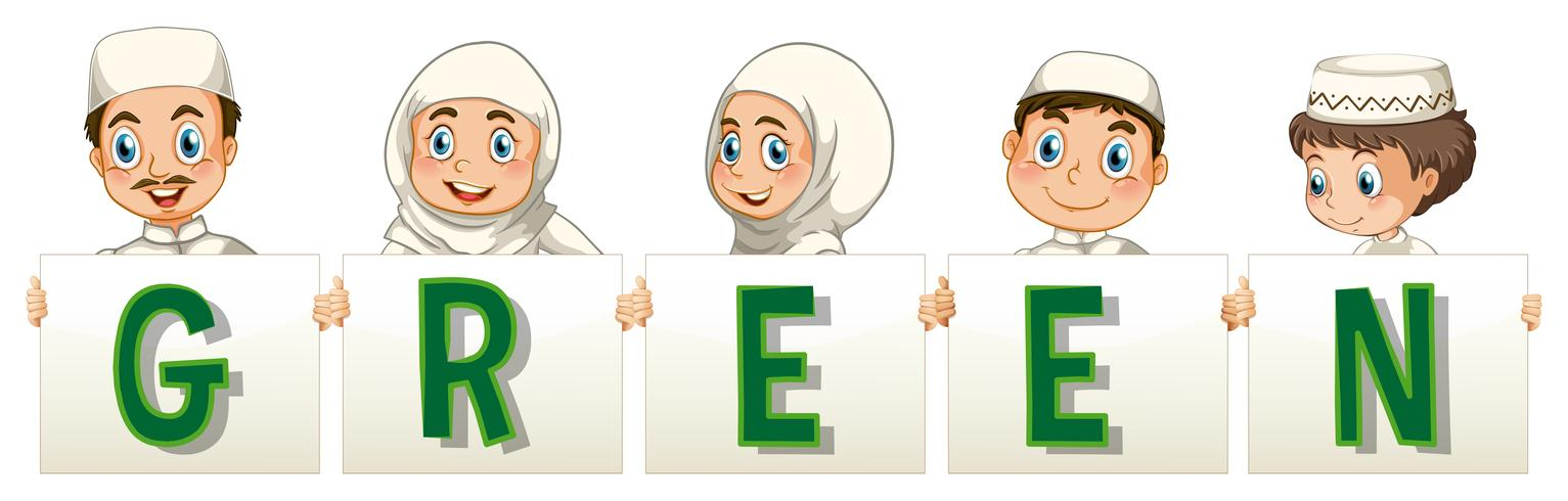 Muslim people holding sign saying green vector