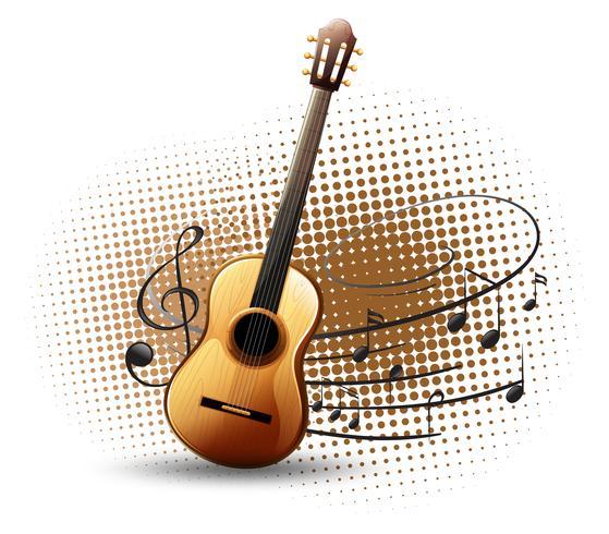 Chitarra e note musicali in sottofondo