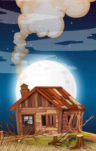 Vieille maison en scène de nuit