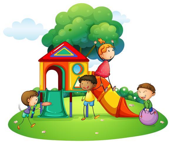 Many children playing on slide vector
