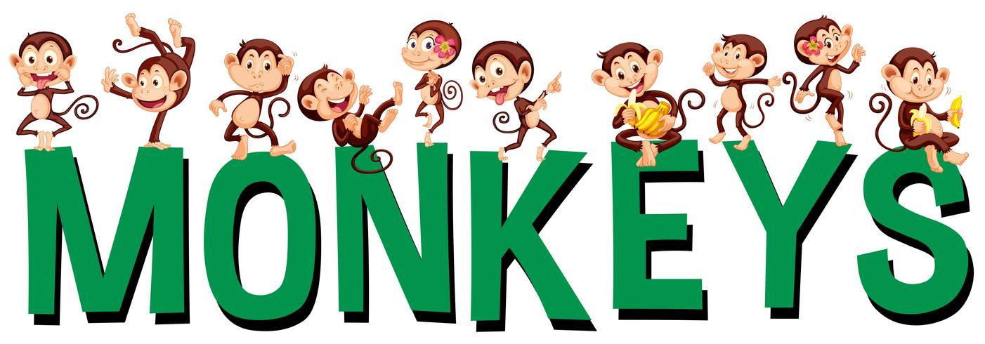 Diseño de fuente con palabra monos