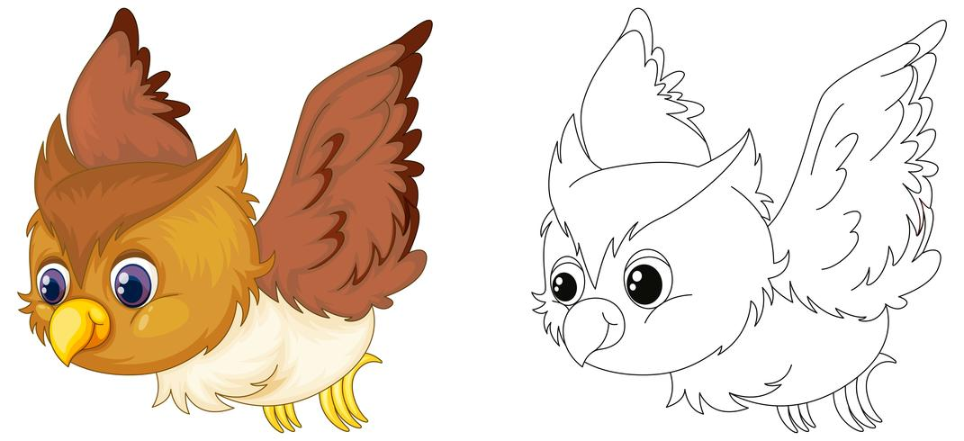 Animal outline for owl flying vector