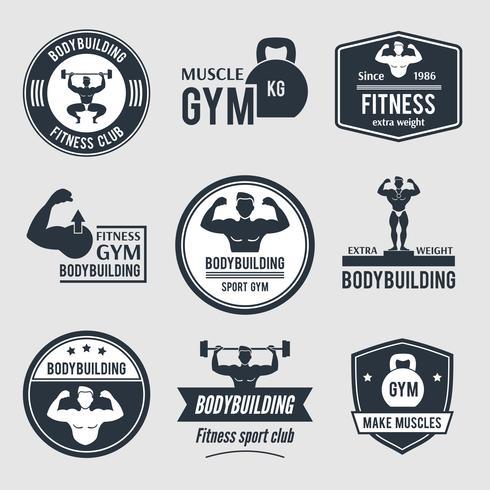 Set di etichette per bodybuilding vettore