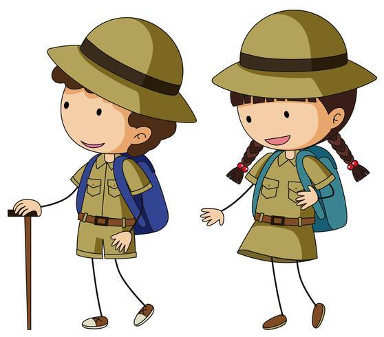 Boyscout y girlscout en uniforme marrón