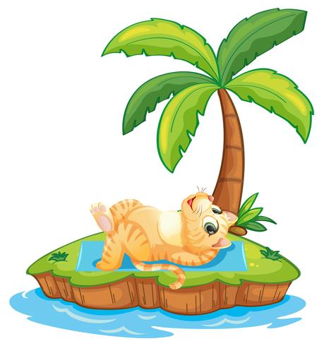 Cat relax on the island vector