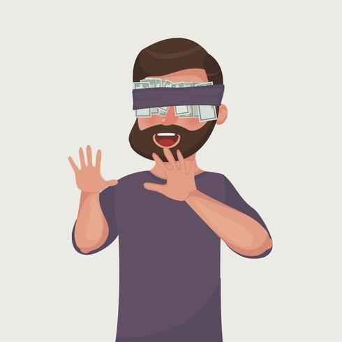 Ein Mann versteckt seine Augen für das Geld. Bärtiger Geschäftsmann mit der Dollarbanknote aufgenommen zu den Augen.