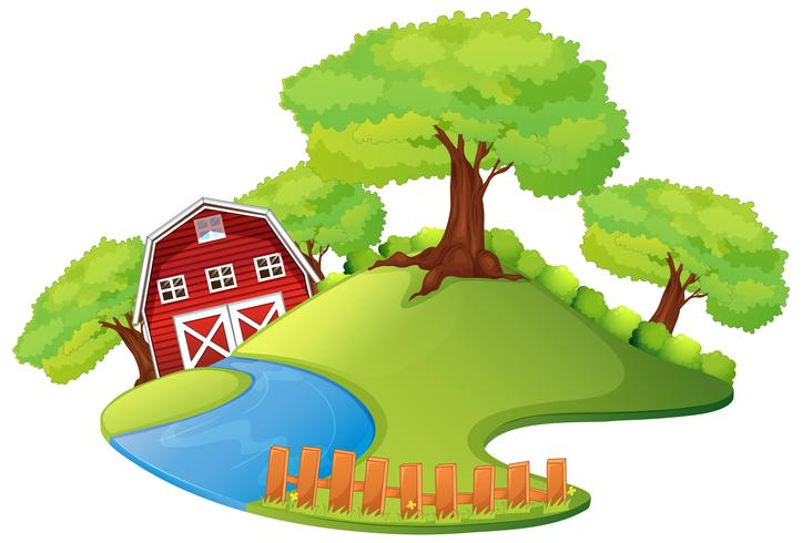 Scene with barn in the farm vector