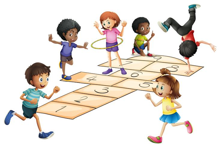Kids playing hopscotch in the field vector
