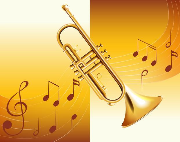 Trompete und Musiknoten im Hintergrund vektor