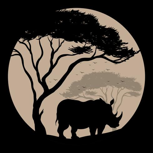 Silhouette background with rhino under the tree vector