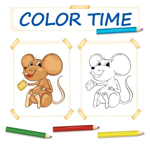 Coloring template with little mouse vector