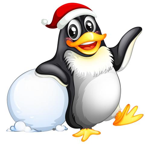 Penguin character with snowball vector