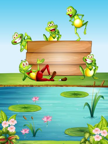 Wooden sign template with many frogs by the pond