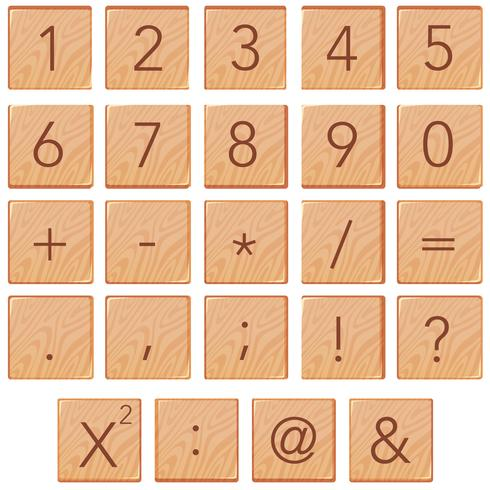 Number and math icon on wooden block