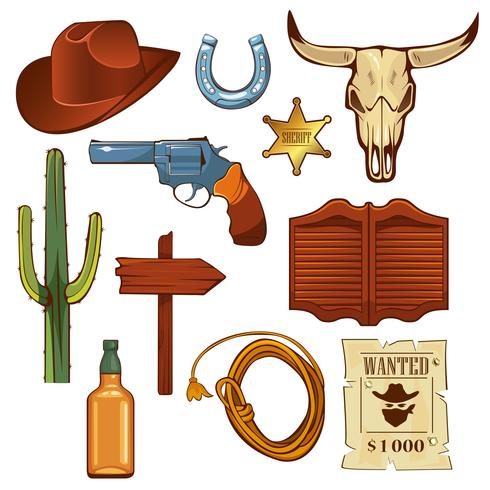 Colorful wild west elements set. vector