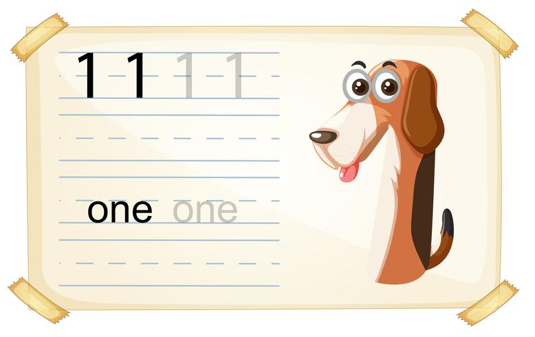 Dog one number worksheet vector