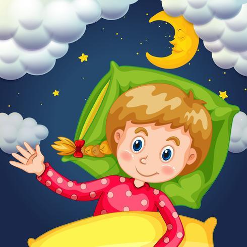 Girl sleeping at night time vector
