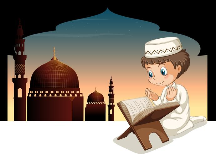 Muslim boy praying with mosque background vector