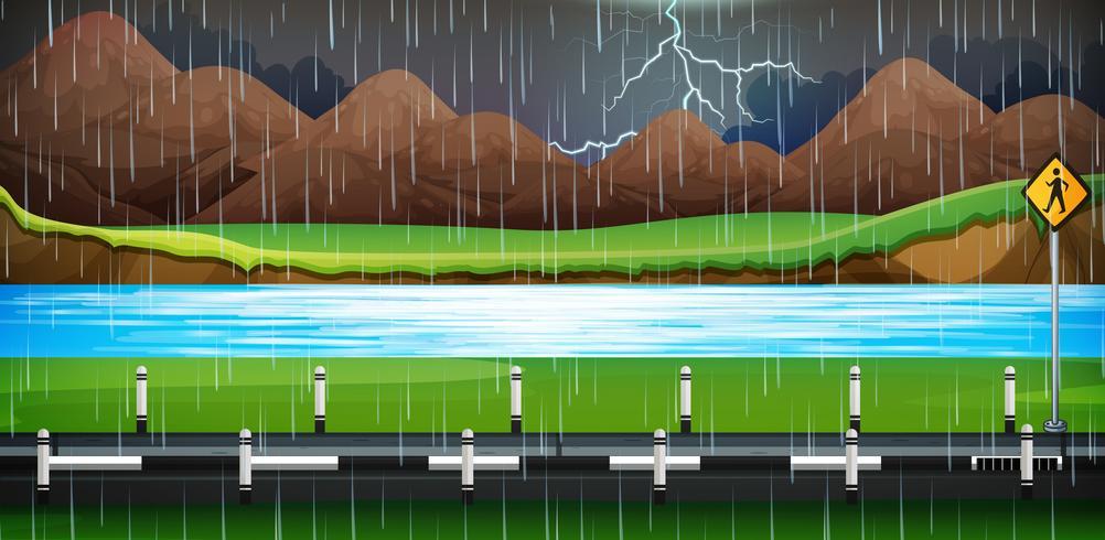 Scena di sfondo con la pioggia sulla strada