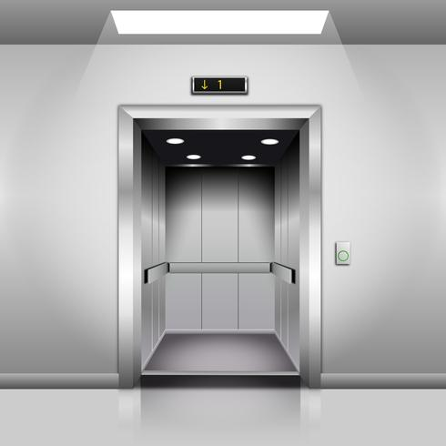 Realistic Empty Modern Elevator with Open Door