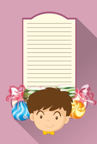 Paper template with boy and candy vector