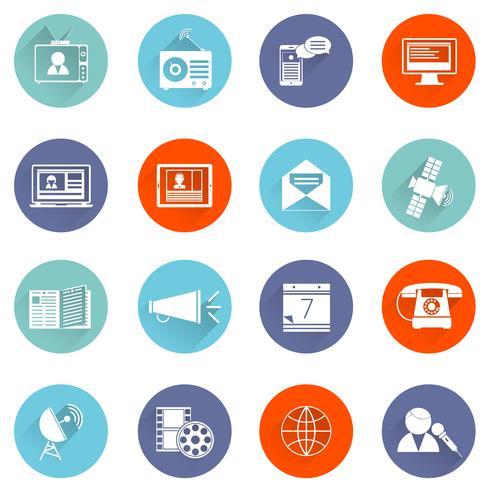 Media ikoner platt set vektor