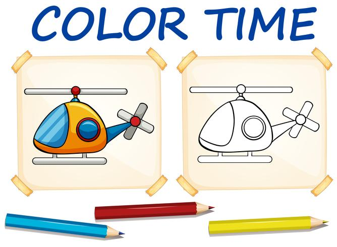 Coloring template with helicopter