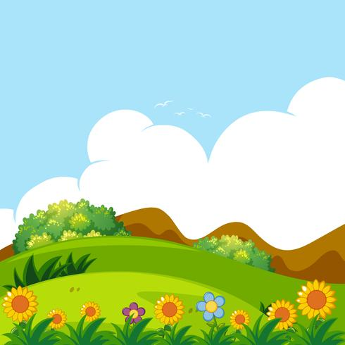 Background scene with green lawn vector