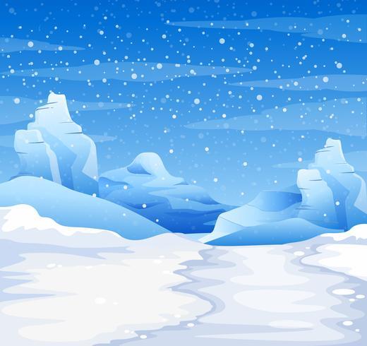 Aardscène met sneeuw die ter plaatse vallen