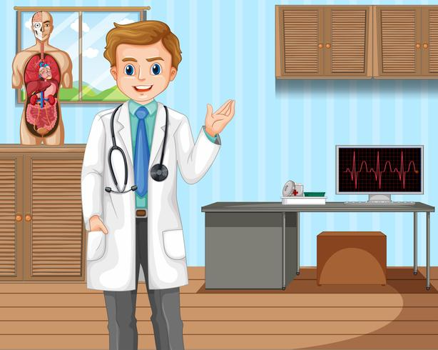 Doctor with Human Anatomy at Hospital vector