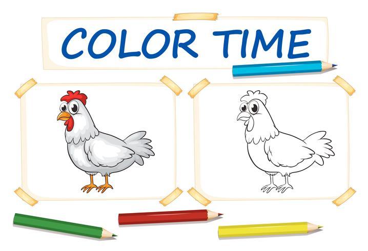Vorlage zum Färben mit Hühnchen