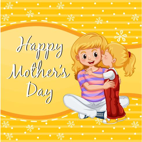 Happy mother's day card with girl kissing mom