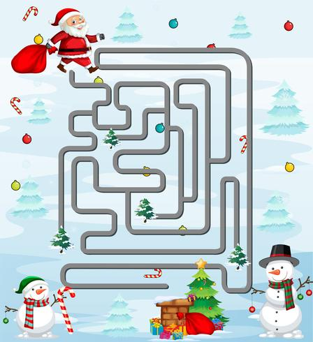 Santa in maze game template vector