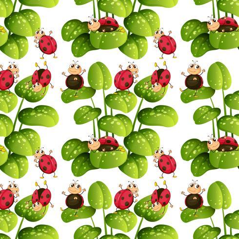 Seamless background design with ladybugs